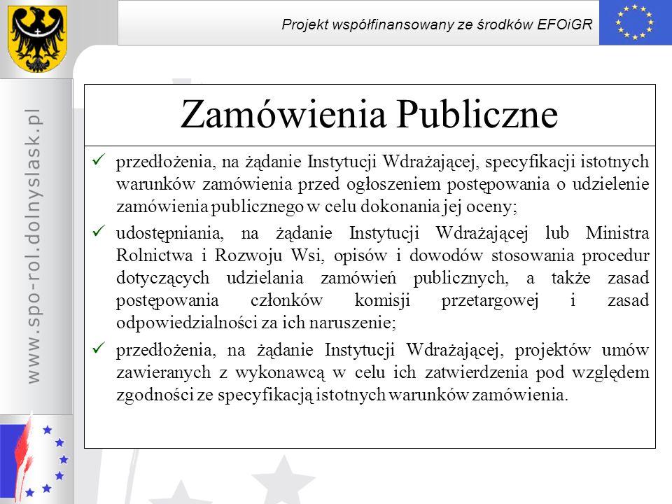 Projekt współfinansowany ze środków EFOiGR Zamówienia Publiczne przedłożenia, na żądanie Instytucji Wdrażającej, specyfikacji istotnych warunków zamów