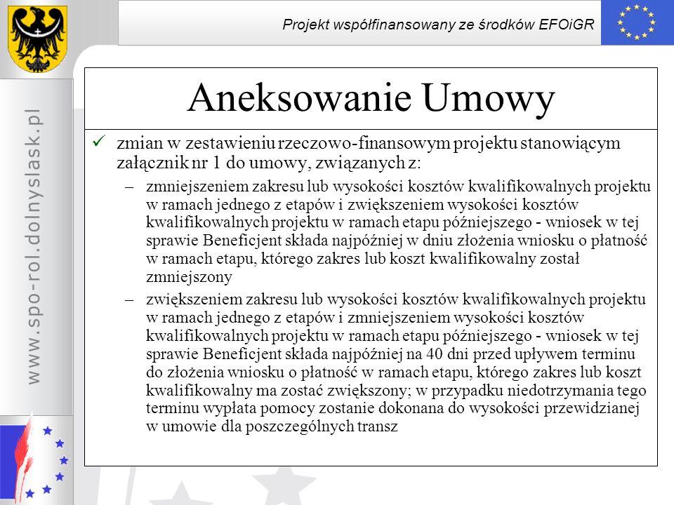 Projekt współfinansowany ze środków EFOiGR Aneksowanie Umowy zmian w zestawieniu rzeczowo-finansowym projektu stanowiącym załącznik nr 1 do umowy, zwi