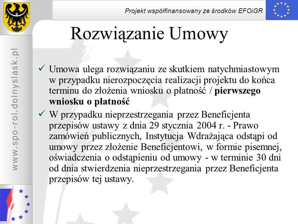 Projekt współfinansowany ze środków EFOiGR Rozwiązanie Umowy Umowa ulega rozwiązaniu ze skutkiem natychmiastowym w przypadku nierozpoczęcia realizacji