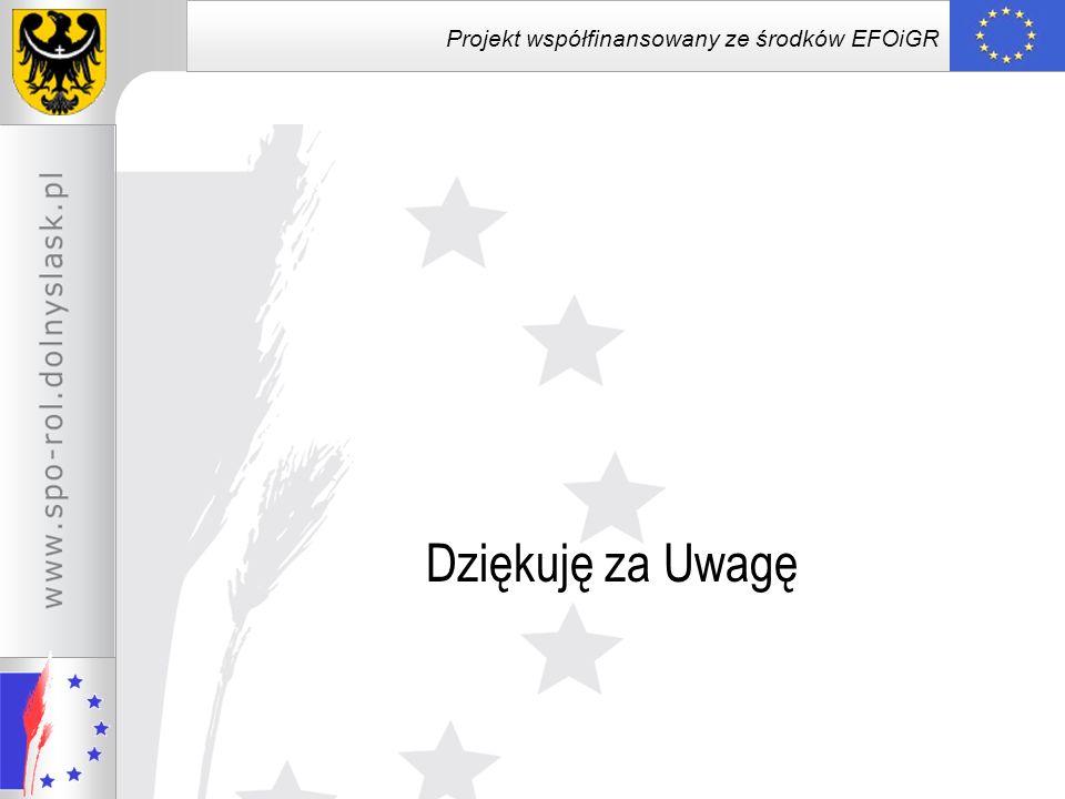 Projekt współfinansowany ze środków EFOiGR Dziękuję za Uwagę