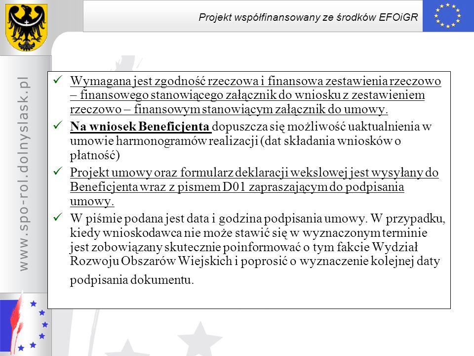Projekt współfinansowany ze środków EFOiGR Aneksowanie Umowy zmian w zestawieniu rzeczowo-finansowym projektu stanowiącym załącznik nr 1 do umowy, związanych z: –zmniejszeniem zakresu lub wysokości kosztów kwalifikowalnych projektu w ramach jednego z etapów i zwiększeniem wysokości kosztów kwalifikowalnych projektu w ramach etapu późniejszego - wniosek w tej sprawie Beneficjent składa najpóźniej w dniu złożenia wniosku o płatność w ramach etapu, którego zakres lub koszt kwalifikowalny został zmniejszony –zwiększeniem zakresu lub wysokości kosztów kwalifikowalnych projektu w ramach jednego z etapów i zmniejszeniem wysokości kosztów kwalifikowalnych projektu w ramach etapu późniejszego - wniosek w tej sprawie Beneficjent składa najpóźniej na 40 dni przed upływem terminu do złożenia wniosku o płatność w ramach etapu, którego zakres lub koszt kwalifikowalny ma zostać zwiększony; w przypadku niedotrzymania tego terminu wypłata pomocy zostanie dokonana do wysokości przewidzianej w umowie dla poszczególnych transz