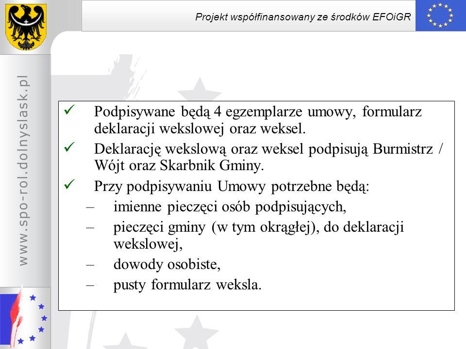 Projekt współfinansowany ze środków EFOiGR Rozwiązanie Umowy Umowa ulega rozwiązaniu ze skutkiem natychmiastowym w przypadku nierozpoczęcia realizacji projektu do końca terminu do złożenia wniosku o płatność / pierwszego wniosku o płatność W przypadku nieprzestrzegania przez Beneficjenta przepisów ustawy z dnia 29 stycznia 2004 r.