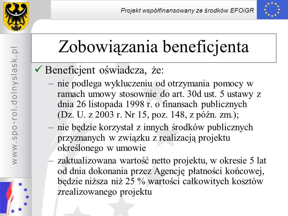 Projekt współfinansowany ze środków EFOiGR Beneficjent oświadcza, że: –nie podlega wykluczeniu od otrzymania pomocy w ramach umowy stosownie do art. 3