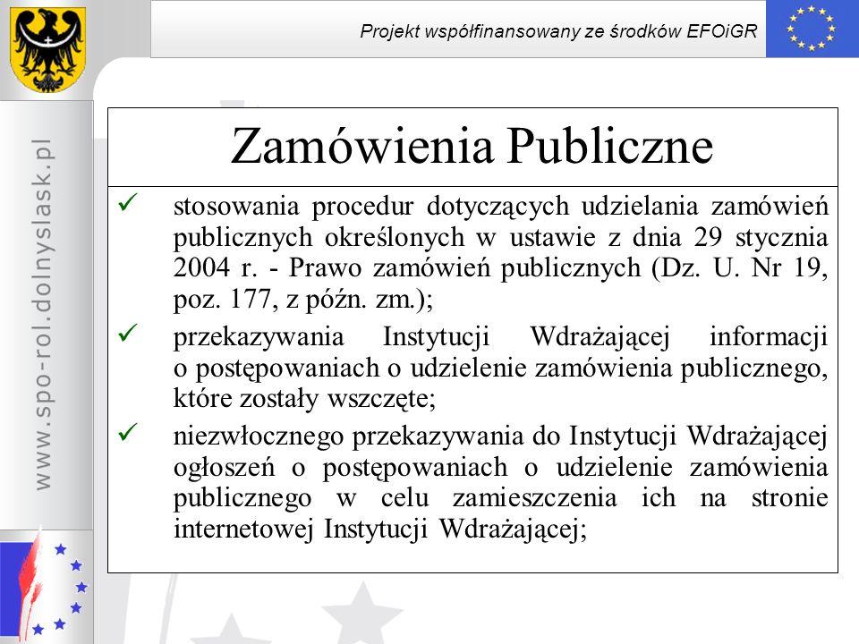 Projekt współfinansowany ze środków EFOiGR Zamówienia Publiczne stosowania procedur dotyczących udzielania zamówień publicznych określonych w ustawie
