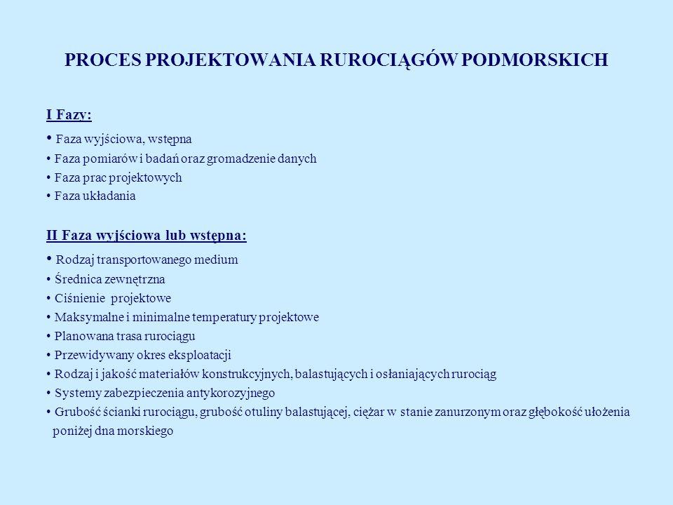 PROCES PROJEKTOWANIA RUROCIĄGÓW PODMORSKICH I Fazy: Faza wyjściowa, wstępna Faza pomiarów i badań oraz gromadzenie danych Faza prac projektowych Faza