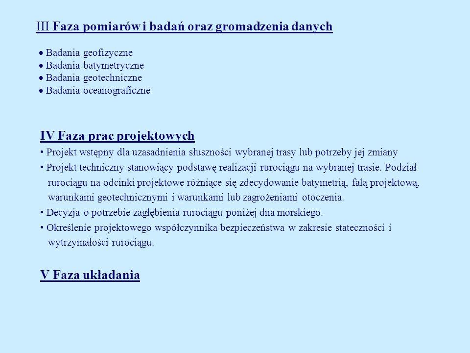 III Faza pomiarów i badań oraz gromadzenia danych Badania geofizyczne Badania batymetryczne Badania geotechniczne Badania oceanograficzne IV Faza prac