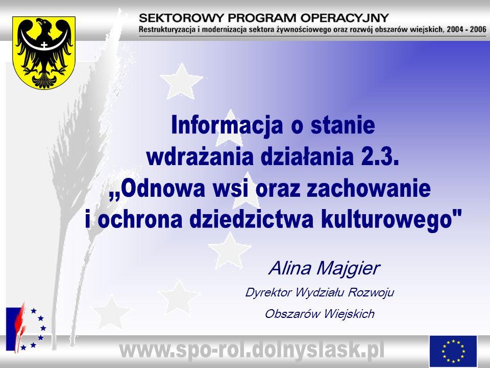 Alina Majgier Dyrektor Wydziału Rozwoju Obszarów Wiejskich