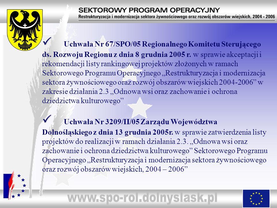 Uchwała Nr 67/SPO/05 Regionalnego Komitetu Sterującego ds. Rozwoju Regionu z dnia 8 grudnia 2005 r. w sprawie akceptacji i rekomendacji listy rankingo