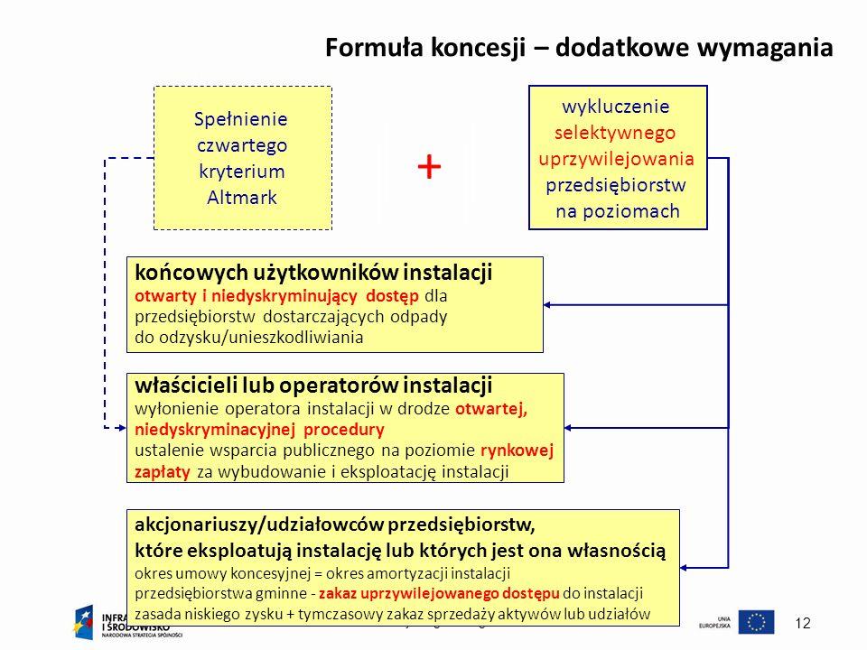 Ministerstwo Rozwoju Regionalnego 12 Formuła koncesji – dodatkowe wymagania Spełnienie czwartego kryterium Altmark + wykluczenie selektywnego uprzywil
