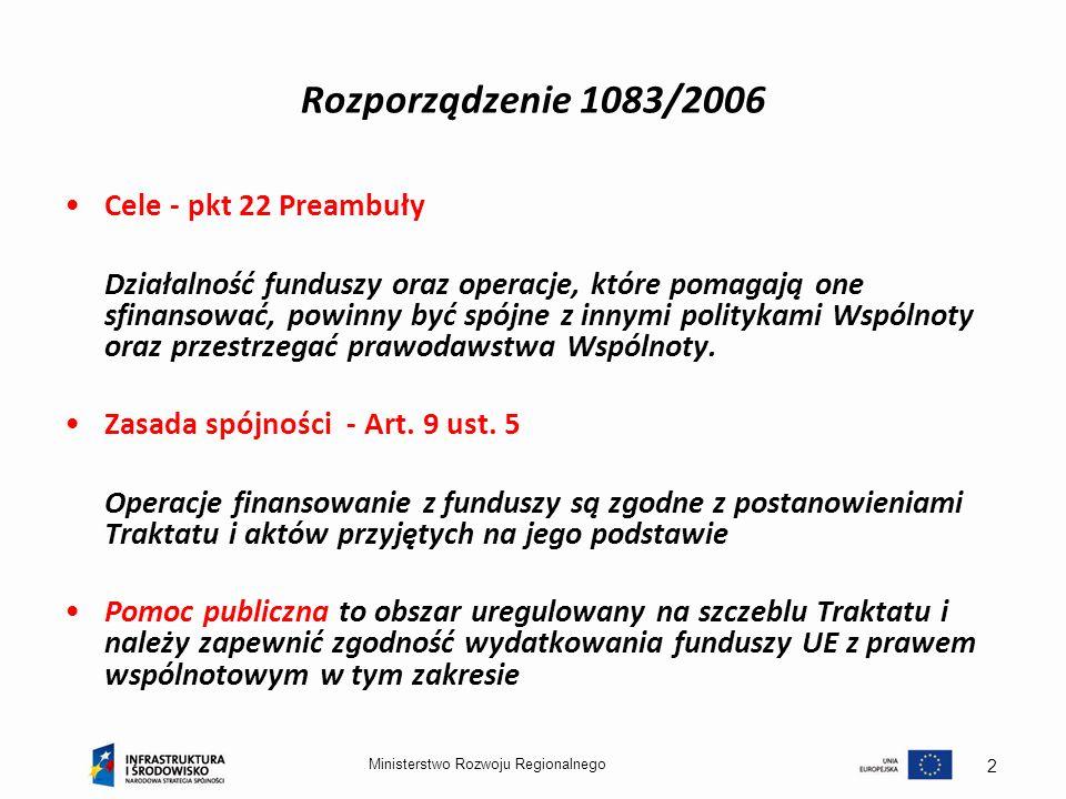 2 Rozporządzenie 1083/2006 Cele - pkt 22 Preambuły Działalność funduszy oraz operacje, które pomagają one sfinansować, powinny być spójne z innymi pol