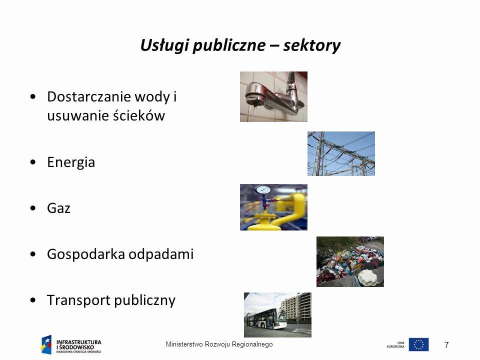 Ministerstwo Rozwoju Regionalnego 7 Usługi publiczne – sektory Dostarczanie wody i usuwanie ścieków Energia Gaz Gospodarka odpadami Transport publiczn