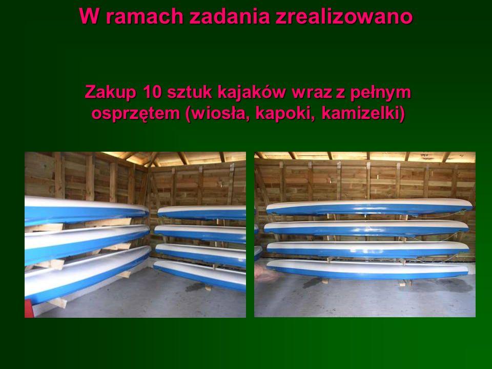 W ramach zadania zrealizowano Zakup 10 sztuk kajaków wraz z pełnym osprzętem (wiosła, kapoki, kamizelki)