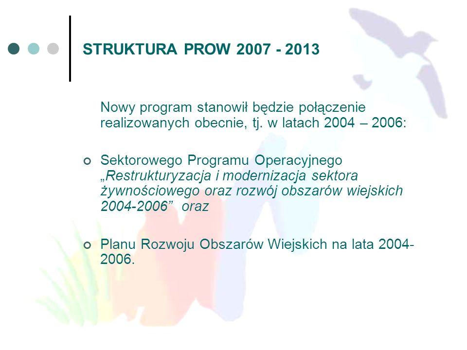 STRUKTURA PROW 2007 - 2013 Nowy program stanowił będzie połączenie realizowanych obecnie, tj. w latach 2004 – 2006: Sektorowego Programu OperacyjnegoR