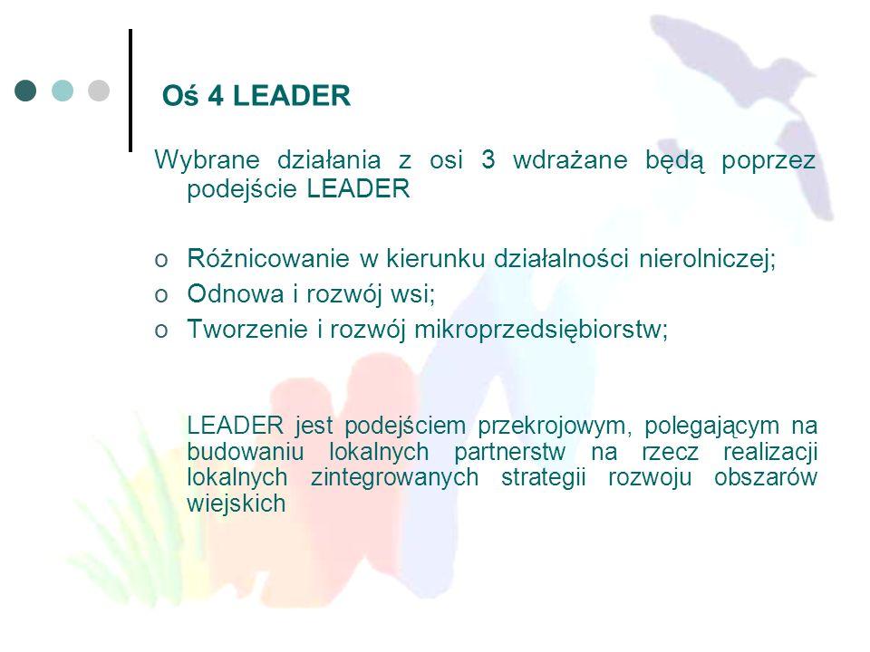 Oś 4 LEADER Wybrane działania z osi 3 wdrażane będą poprzez podejście LEADER oRóżnicowanie w kierunku działalności nierolniczej; oOdnowa i rozwój wsi;