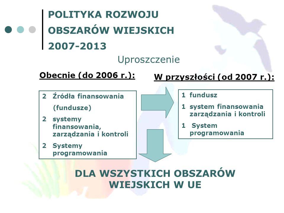 POLITYKA ROZWOJU OBSZARÓW WIEJSKICH 2007-2013 Uproszczenie Obecnie (do 2006 r.): 2Źródła finansowania (fundusze) 2systemy finansowania, zarządzania i
