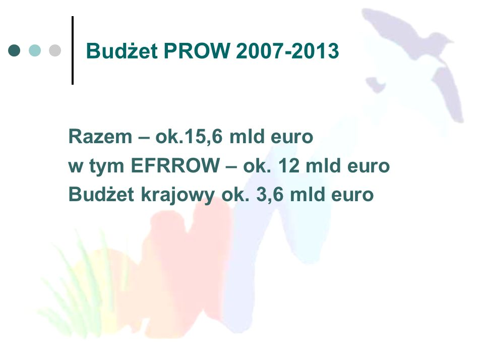 Budżet PROW 2007-2013 Razem – ok.15,6 mld euro w tym EFRROW – ok. 12 mld euro Budżet krajowy ok. 3,6 mld euro