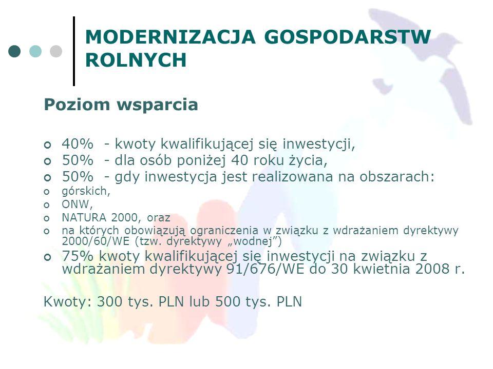 MODERNIZACJA GOSPODARSTW ROLNYCH Poziom wsparcia 40% - kwoty kwalifikującej się inwestycji, 50% - dla osób poniżej 40 roku życia, 50% - gdy inwestycja