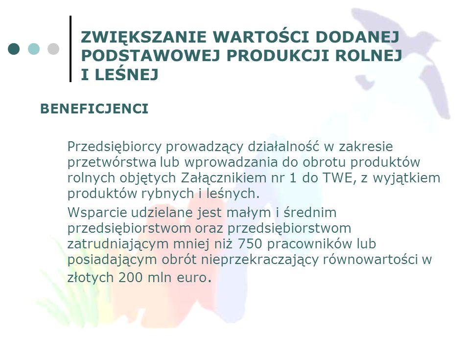 BENEFICJENCI Przedsiębiorcy prowadzący działalność w zakresie przetwórstwa lub wprowadzania do obrotu produktów rolnych objętych Załącznikiem nr 1 do