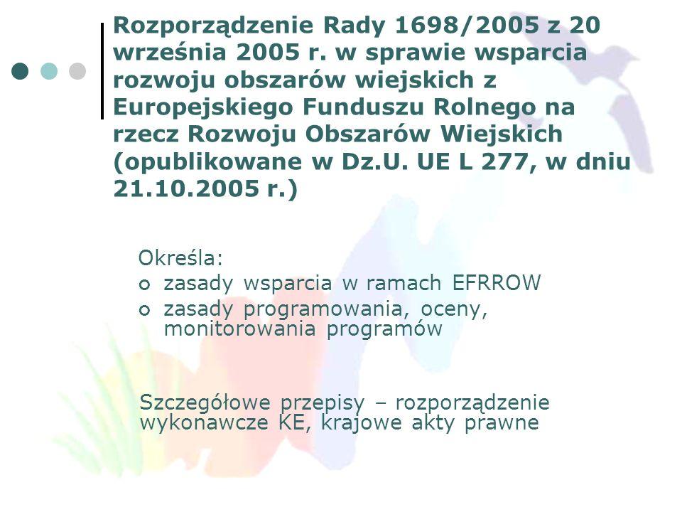 ROZPORZĄDZENIA WYKONAWCZE DO ROZPORZĄDZENIA 1698/2005 (PROJEKTY) Ustanawiające szczegółowe zasady stosowania rozporządzenia Rady (WE) nr 1698/2005 w sprawie wsparcia rozwoju obszarów wiejskich przez Europejski Fundusz Rolny na rzecz Rozwoju Obszarów Wiejskich ustanawiające przepisy przejściowe dla rozwoju obszarów wiejskich, o którym mowa w rozporządzeniu Rady (WE) nr 1698/2005 Ustanawiające szczegółowe zasady wykonania rozporządzenia (WE) nr 1698/2005 w odniesieniu do wprowadzania procedur kontroli, jak również wzajemnej zgodności dotyczącej środków wsparcia na rzecz rozwoju obszarów wiejskich