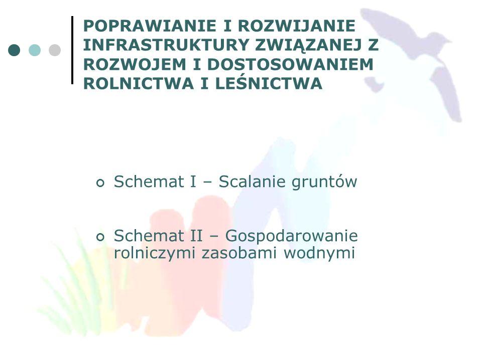 Schemat I – Scalanie gruntów Schemat II – Gospodarowanie rolniczymi zasobami wodnymi POPRAWIANIE I ROZWIJANIE INFRASTRUKTURY ZWIĄZANEJ Z ROZWOJEM I DO