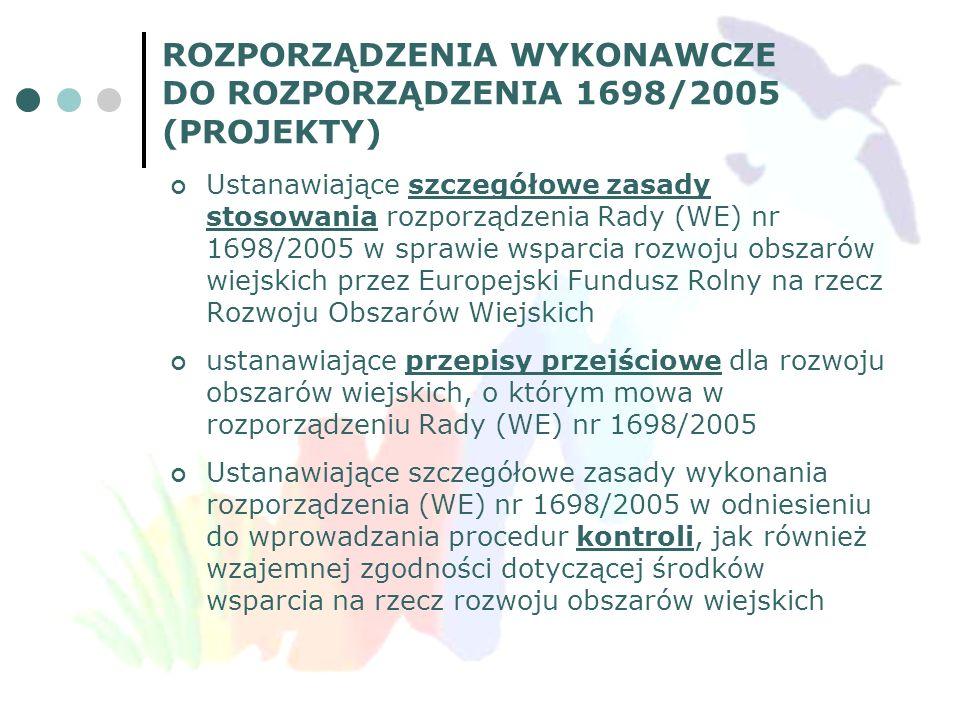 ROZPORZĄDZENIA WYKONAWCZE DO ROZPORZĄDZENIA 1698/2005 (PROJEKTY) Ustanawiające szczegółowe zasady stosowania rozporządzenia Rady (WE) nr 1698/2005 w s