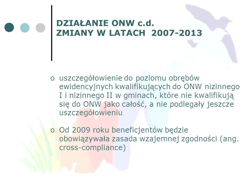 DZIAŁANIE ONW c.d. ZMIANY W LATACH 2007-2013 ouszczegółowienie do poziomu obrębów ewidencyjnych kwalifikujących do ONW nizinnego I i nizinnego II w gm
