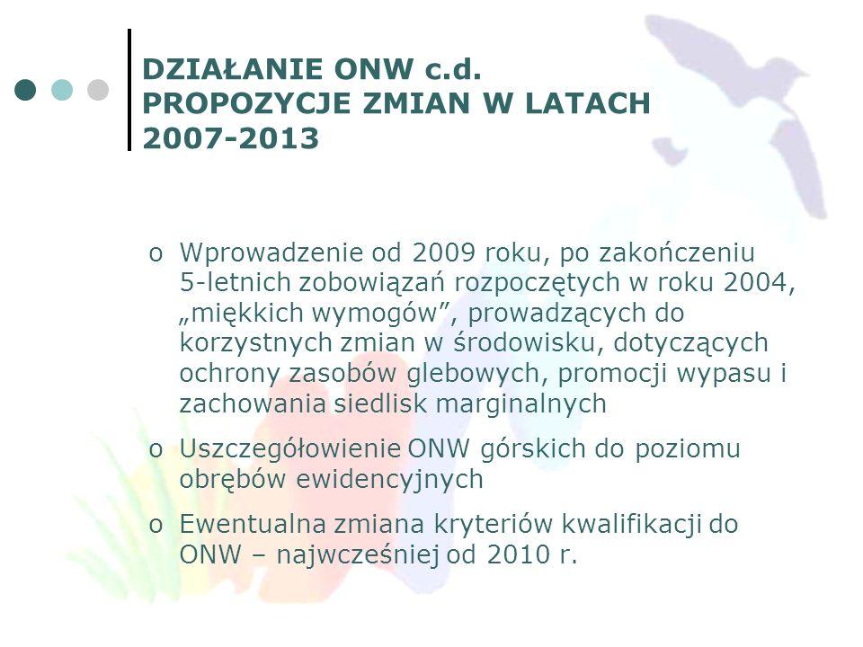DZIAŁANIE ONW c.d. PROPOZYCJE ZMIAN W LATACH 2007-2013 oWprowadzenie od 2009 roku, po zakończeniu 5-letnich zobowiązań rozpoczętych w roku 2004, miękk
