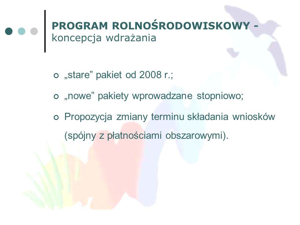 PROGRAM ROLNOŚRODOWISKOWY - koncepcja wdrażania stare pakiet od 2008 r.; nowe pakiety wprowadzane stopniowo; Propozycja zmiany terminu składania wnios