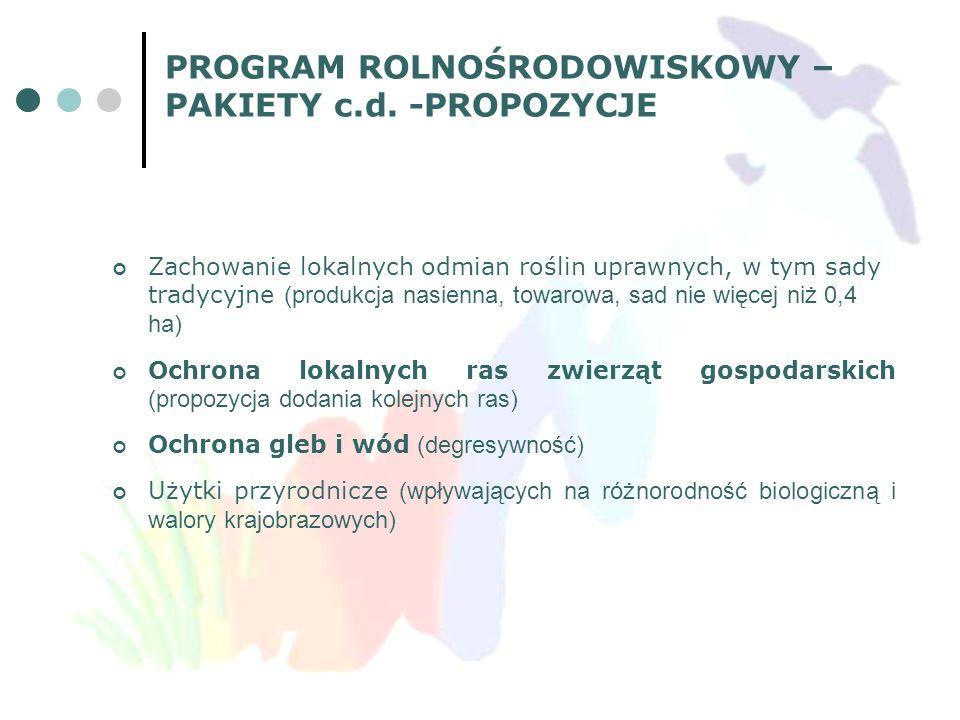 PROGRAM ROLNOŚRODOWISKOWY – PAKIETY c.d. -PROPOZYCJE Zachowanie lokalnych odmian roślin uprawnych, w tym sady tradycyjne (produkcja nasienna, towarowa