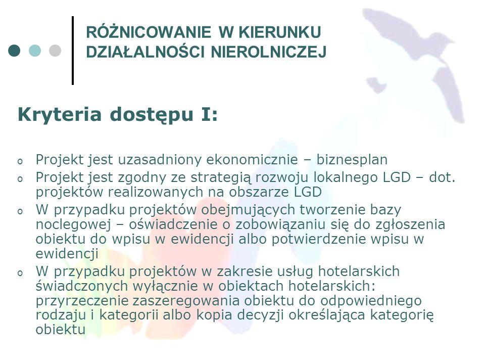 Kryteria dostępu I: o Projekt jest uzasadniony ekonomicznie – biznesplan o Projekt jest zgodny ze strategią rozwoju lokalnego LGD – dot. projektów rea