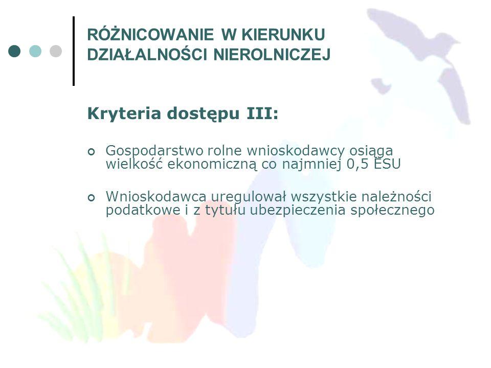 Kryteria dostępu III: Gospodarstwo rolne wnioskodawcy osiąga wielkość ekonomiczną co najmniej 0,5 ESU Wnioskodawca uregulował wszystkie należności pod