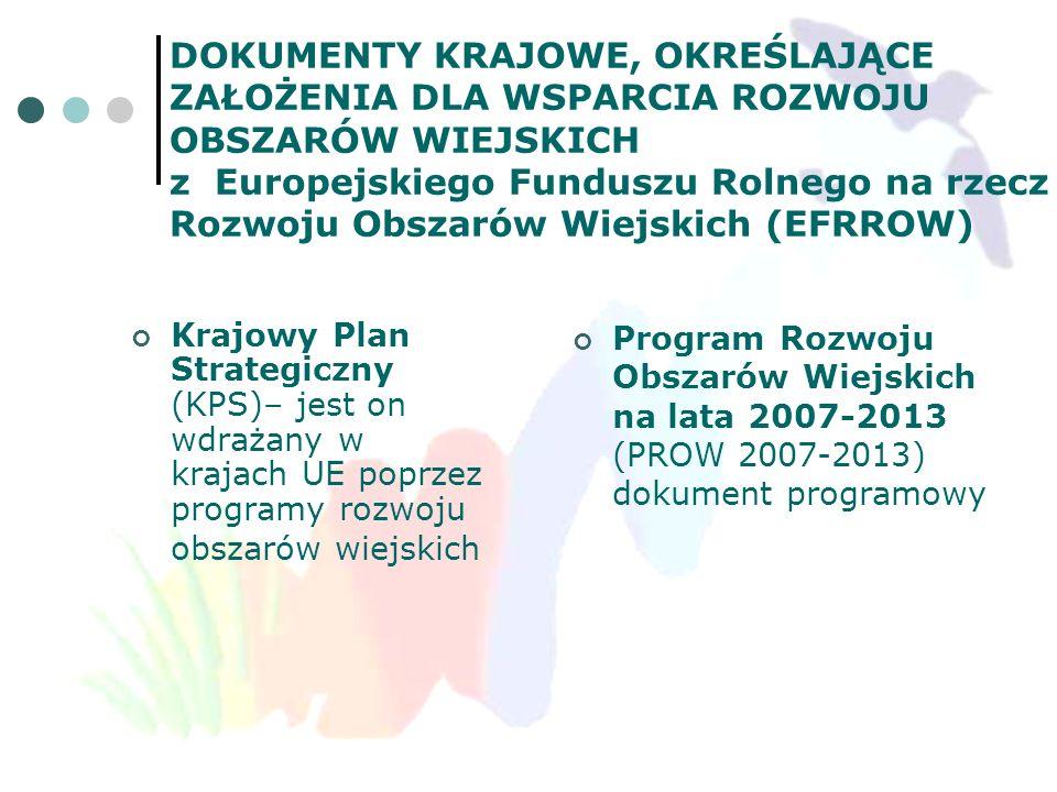 KRAJOWY PLAN STRATEGICZNY - KPS (uzgodnienia z KE) Syntetyczny dokument o charakterze strategicznym Jest tworzony z uwzględnieniem Strategicznych Wytycznych Wspólnoty w zakresie rozwoju obszarów wiejskich Ukazuje polską specyfikę rozwoju obszarów wiejskich Określa priorytety i kierunki rozwoju obszarów wiejskich
