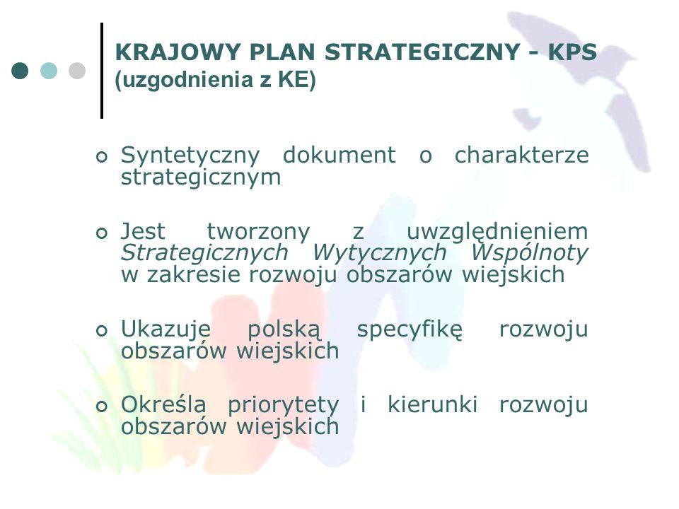 KRAJOWY PLAN STRATEGICZNY - KPS (uzgodnienia z KE) Syntetyczny dokument o charakterze strategicznym Jest tworzony z uwzględnieniem Strategicznych Wyty