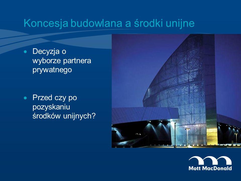 Koncesja budowlana a środki unijne Decyzja o wyborze partnera prywatnego Przed czy po pozyskaniu środków unijnych?