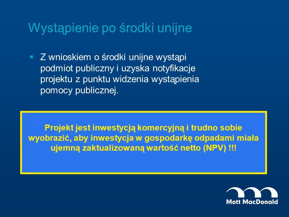 Wystąpienie po środki unijne Z wnioskiem o środki unijne wystąpi podmiot publiczny i uzyska notyfikacje projektu z punktu widzenia wystąpienia pomocy