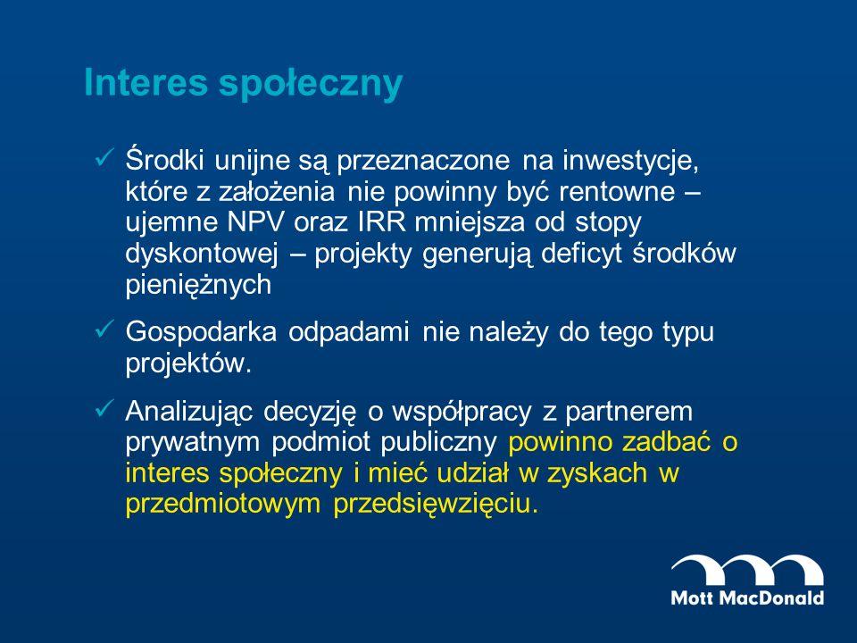 Interes społeczny Środki unijne są przeznaczone na inwestycje, które z założenia nie powinny być rentowne – ujemne NPV oraz IRR mniejsza od stopy dysk