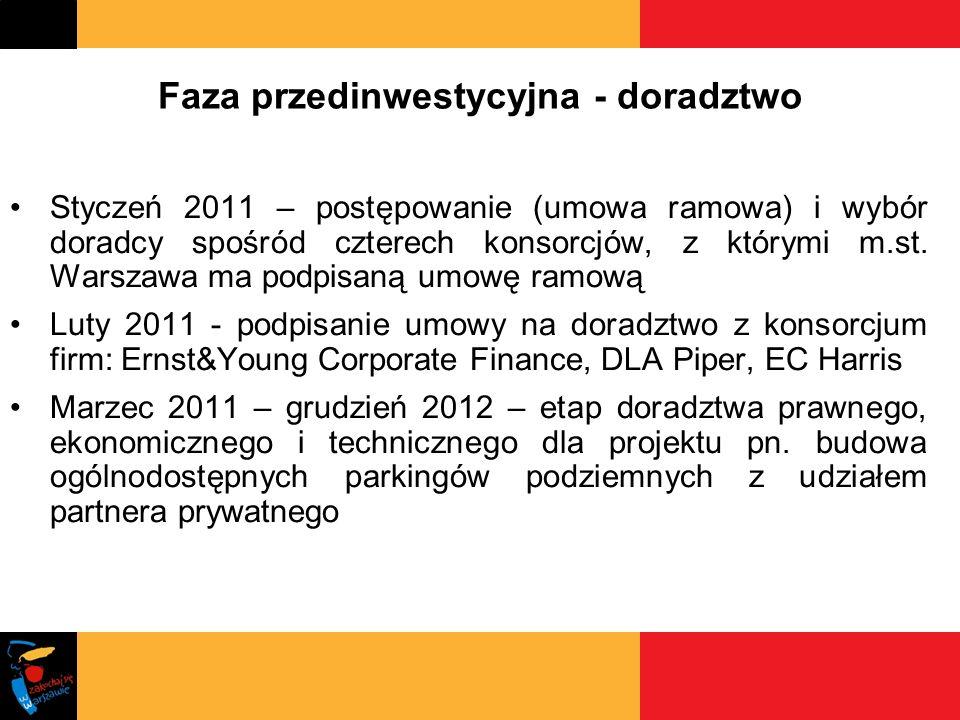 Faza przedinwestycyjna - doradztwo Styczeń 2011 – postępowanie (umowa ramowa) i wybór doradcy spośród czterech konsorcjów, z którymi m.st. Warszawa ma