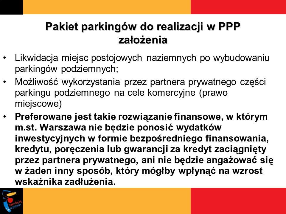 Pakiet parkingów do realizacji w PPP założenia Likwidacja miejsc postojowych naziemnych po wybudowaniu parkingów podziemnych; Możliwość wykorzystania