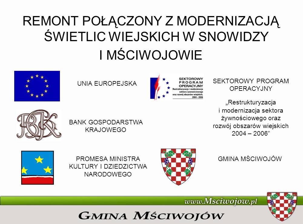 REMONT POŁĄCZONY Z MODERNIZACJĄ ŚWIETLIC WIEJSKICH W SNOWIDZY I MŚCIWOJOWIE UNIA EUROPEJSKA BANK GOSPODARSTWA KRAJOWEGO PROMESA MINISTRA KULTURY I DZI