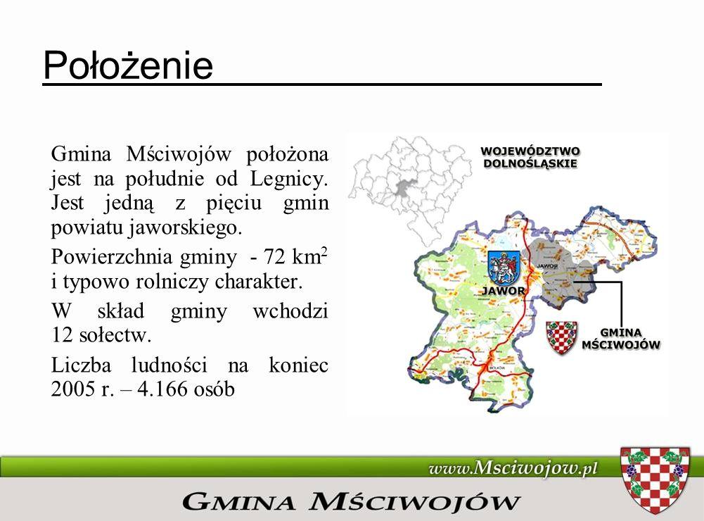 Położenie Gmina Mściwojów położona jest na południe od Legnicy. Jest jedną z pięciu gmin powiatu jaworskiego. Powierzchnia gminy - 72 km 2 i typowo ro