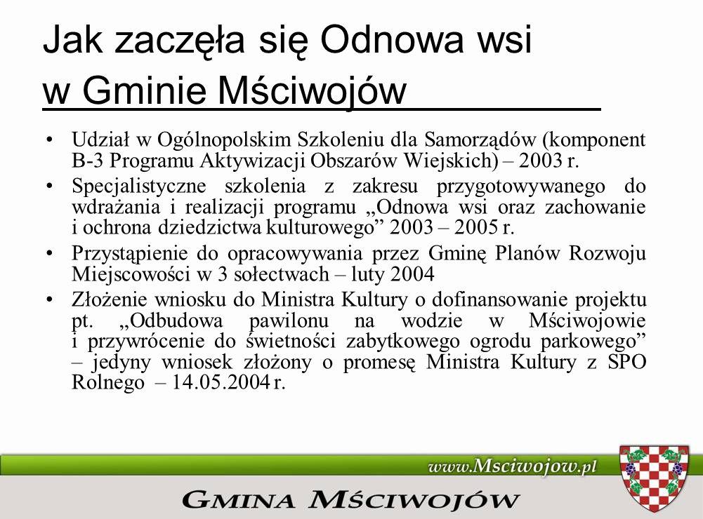 Jak zaczęła się Odnowa wsi w Gminie Mściwojów Udział w Ogólnopolskim Szkoleniu dla Samorządów (komponent B-3 Programu Aktywizacji Obszarów Wiejskich)