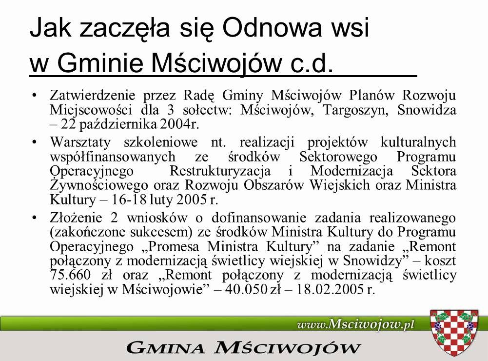 Jak zaczęła się Odnowa wsi w Gminie Mściwojów c.d. Zatwierdzenie przez Radę Gminy Mściwojów Planów Rozwoju Miejscowości dla 3 sołectw: Mściwojów, Targ