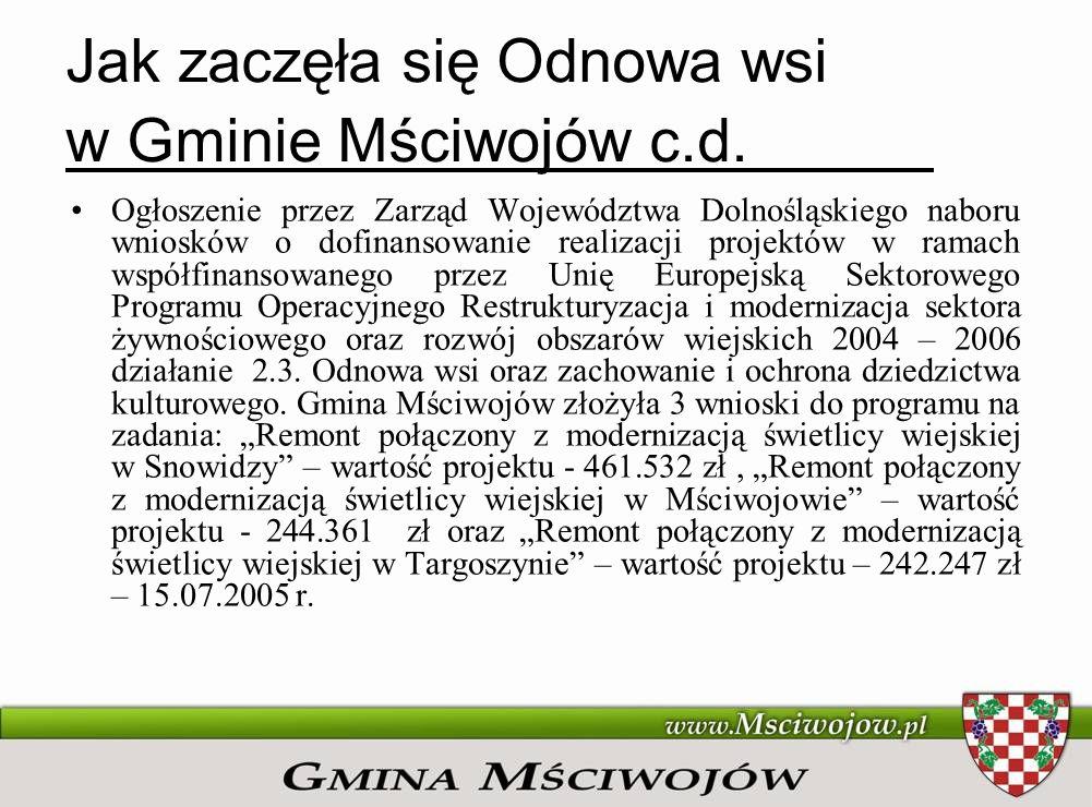 Jak zaczęła się Odnowa wsi w Gminie Mściwojów c.d. Ogłoszenie przez Zarząd Województwa Dolnośląskiego naboru wniosków o dofinansowanie realizacji proj