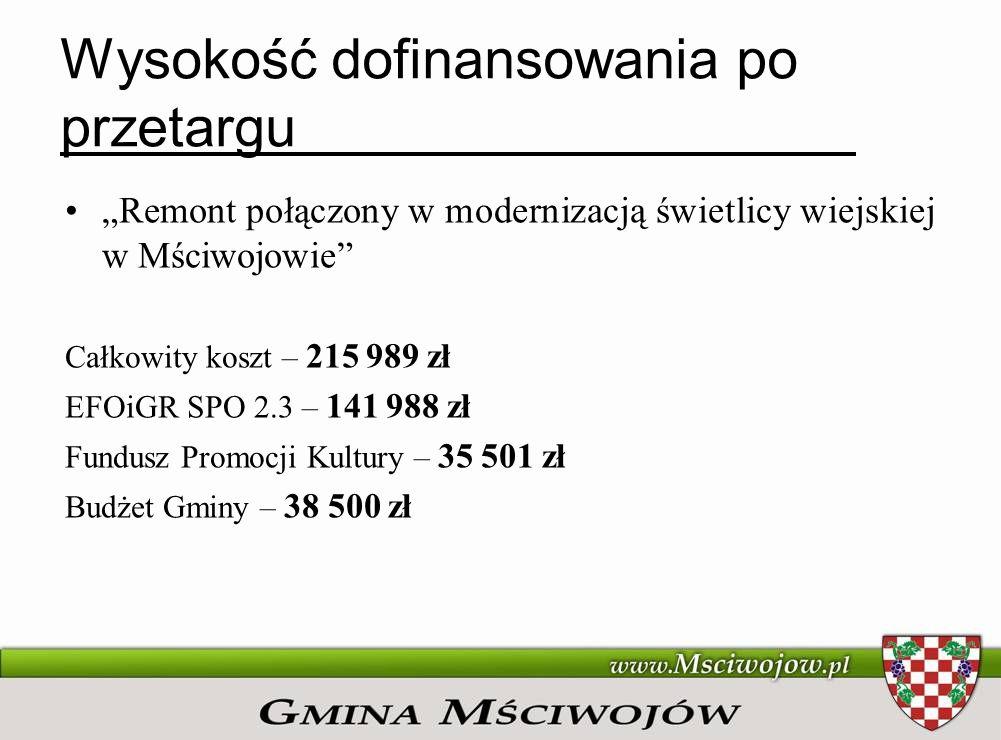 Wysokość dofinansowania po przetargu Remont połączony w modernizacją świetlicy wiejskiej w Snowidzy Całkowity koszt – 378.307 zł EFOiGR SPO 2.3 – 248.699 zł Fundusz Promocji Kultury – 62.178 zł Budżet Gminy – 67.430 zł