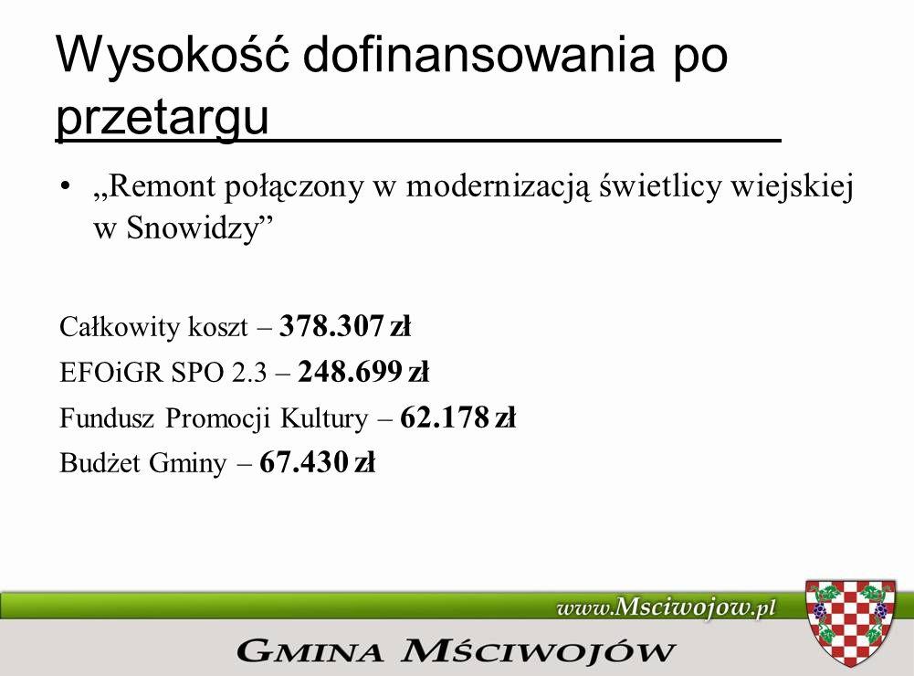 REMONT POŁĄCZONY Z MODERNIZACJĄ BUDYNKU ŚWIETLICY WIEJSKIEJ W MŚCIWOJOWIE STRUKTURA PRZEPŁYWU ŚRODKÓW FINANSOWYCH Bank Gospodarstwa Krajowego 141.998 zł Prefinansowanie (pożyczka) Promesa Ministra Kultury i Dziedzictwa Narodowego 35.501 zł Subkonto w BS Mściwojów Gmina Mściwojów 38.500 zł Środki własne Urząd Gminy Mściwojów Środki własne Koszty otwarcia oraz prowadzenia rachunku, opłaty i prowizje, Odsetki od pożyczki Bank Gospodarstwa Krajowego Rachunek środków własnych Rachunek pożyczki Rachunek kosztów Płatności z programu Restrukturyzacja i modernizacja sektora żywnościowego oraz rozwój obszarów wiejskich 2004 – 2006 Spłata pożyczki w BGK po zakończeniu Wykonawca Przelewy za wykonane prace
