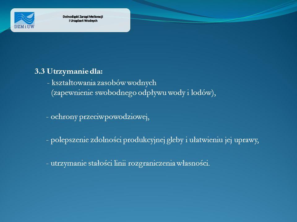 3.3 Utrzymanie dla: - kształtowania zasobów wodnych (zapewnienie swobodnego odpływu wody i lodów), - ochrony przeciwpowodziowej, - polepszenie zdolnoś