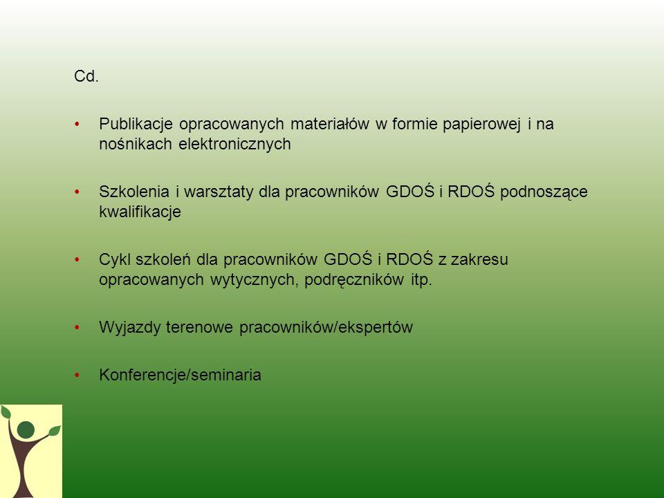 Cd. Publikacje opracowanych materiałów w formie papierowej i na nośnikach elektronicznych Szkolenia i warsztaty dla pracowników GDOŚ i RDOŚ podnoszące