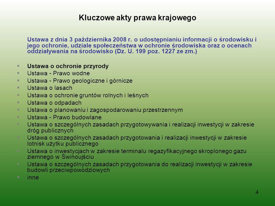 Kluczowe akty prawa krajowego Ustawa z dnia 3 października 2008 r. o udostępnianiu informacji o środowisku i jego ochronie, udziale społeczeństwa w oc