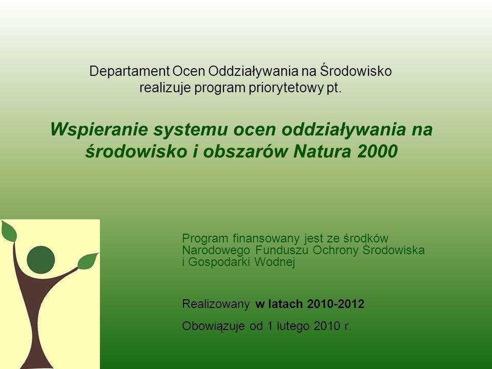 Program finansowany jest ze środków Narodowego Funduszu Ochrony Środowiska i Gospodarki Wodnej Realizowany w latach 2010-2012 Obowiązuje od 1 lutego 2