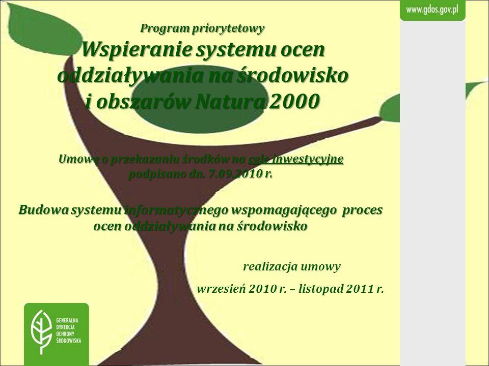Program priorytetowy Wspieranie systemu ocen oddziaływania na środowisko i obszarów Natura 2000 realizacja umowy wrzesień 2010 r. – listopad 2011 r. U